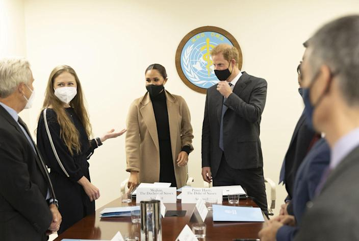 <p>The Sussexes's next stop was the World Health Organization's offices where they discussed global vaccine equity with world leaders, experts, and activists. Chelsea Clinton was among the participants. </p>