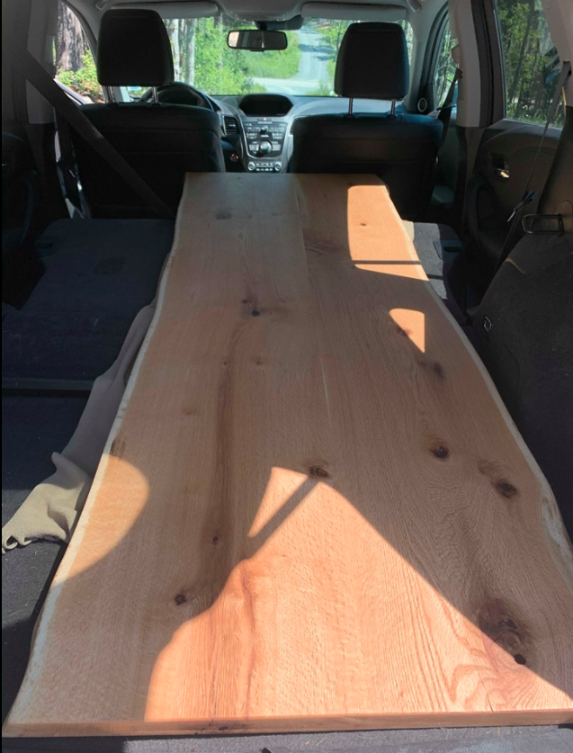 Wood in the back of a car