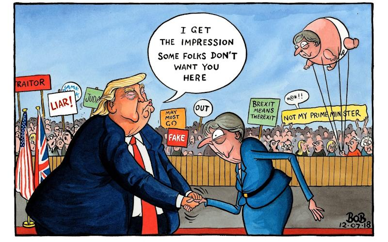 A cartoon showing Trump meeting May amid angry protests aimed at the British PM - Bob for The Telegraph