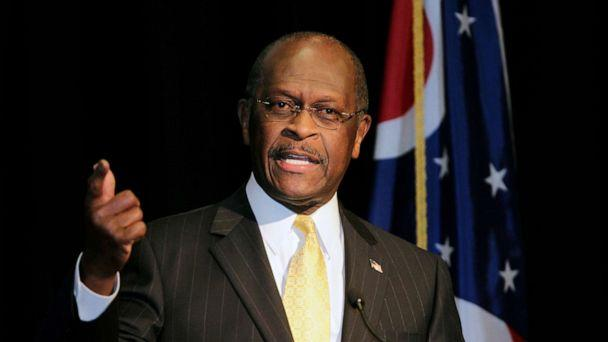 PHOTO: In this Nov. 30, 2011, file photo, Republican presidential contender Herman Cain addresses campaign supporters during a campaign stop in Cincinnati, Ohio. (John Sommers II/Reuters, FILE)