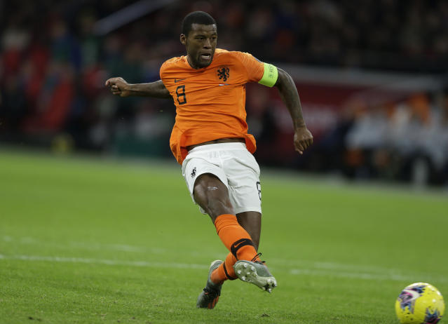Netherlands' Georginio Wijnaldum scores his side's third goal during the Euro 2020 group C qualifying soccer match between The Netherlands and Estonia at the Johan Cruyff ArenA in Amsterdam, Netherlands, Tuesday, Nov. 19, 2019. (AP Photo/Peter Dejong)