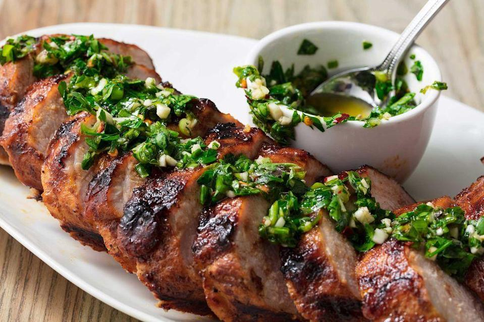 """<p>Thanks to a magical combination of brown sugar, cumin, paprika, and lemon zest, this grilled tenderloin is one of our all-time favorite pork recipes. <br></p><p>Get the recipe from <a href=""""https://www.delish.com/cooking/recipe-ideas/a20079290/best-grilled-pork-tenderloin-recipe/"""" rel=""""nofollow noopener"""" target=""""_blank"""" data-ylk=""""slk:Delish"""" class=""""link rapid-noclick-resp"""">Delish</a>.</p>"""