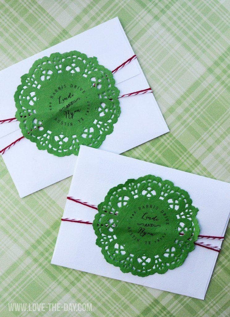 """<p>Even if you don't have the energy to go all-out on handmade cards, you can still easily make the envelopes feel a little more special with the addition of festive green doilies and red and white baker's twine. </p><p><em>Get the tutorial at <a href=""""https://love-the-day.com/christmas-card-ideas"""" rel=""""nofollow noopener"""" target=""""_blank"""" data-ylk=""""slk:Love the Day"""" class=""""link rapid-noclick-resp"""">Love the Day</a>.</em></p><p><a class=""""link rapid-noclick-resp"""" href=""""https://www.amazon.com/Regent-Christmas-Poinsettia-Decorative-Placemats/dp/B08G323X5N/?tag=syn-yahoo-20&ascsubtag=%5Bartid%7C10072.g.34351112%5Bsrc%7Cyahoo-us"""" rel=""""nofollow noopener"""" target=""""_blank"""" data-ylk=""""slk:SHOP CHRISTMAS DOILIES"""">SHOP CHRISTMAS DOILIES</a></p>"""