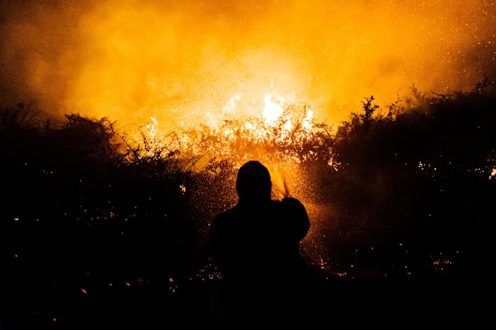 A volunteer firefighter at work in the Pantanal region of southern Brazil on Aug. 28, 2020. (Maria Magdalena Arrellaga/The New York Times)
