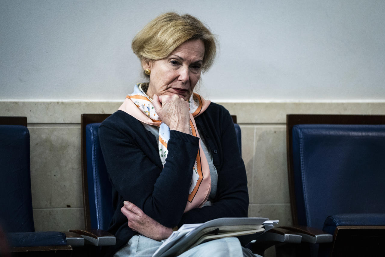 WASHINGTON, DC - APRIL 23 : Dr. Deborah Birx, White House coronavirus response coordinator, listens as President Donald J. Trump speaks with members of the coronavirus task force during a briefing in response to the COVID-19 coronavirus pandemic in the James S. Brady Press Briefing Room at the White House on Thursday, April 23, 2020 in Washington, DC. (Photo by Jabin Botsford/The Washington Post via Getty Images)