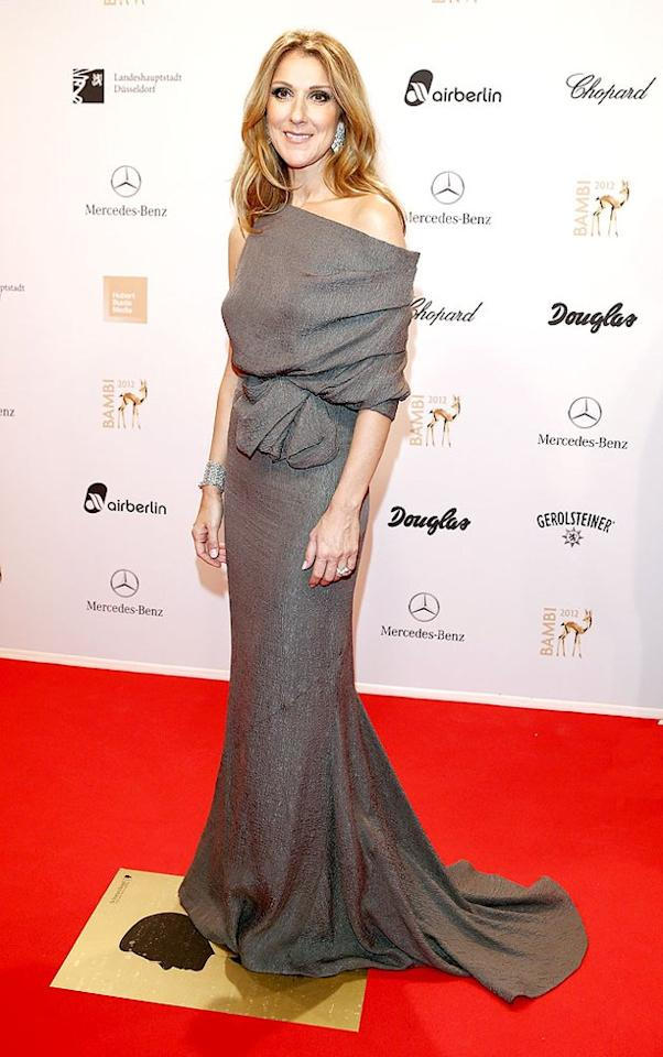 Celine Dion has been MIA in recent months, but the Canadian chanteuse made a glamorous return to the red carpet late last week at the annual Bambi Awards in Duesseldorf, Germany. Looking as elegant as ever, Celine entered the soiree in an off-the-shoulder J. Mendel gown, which was paired with diamond chandelier earrings and a matching cuff. (11/22/2012)
