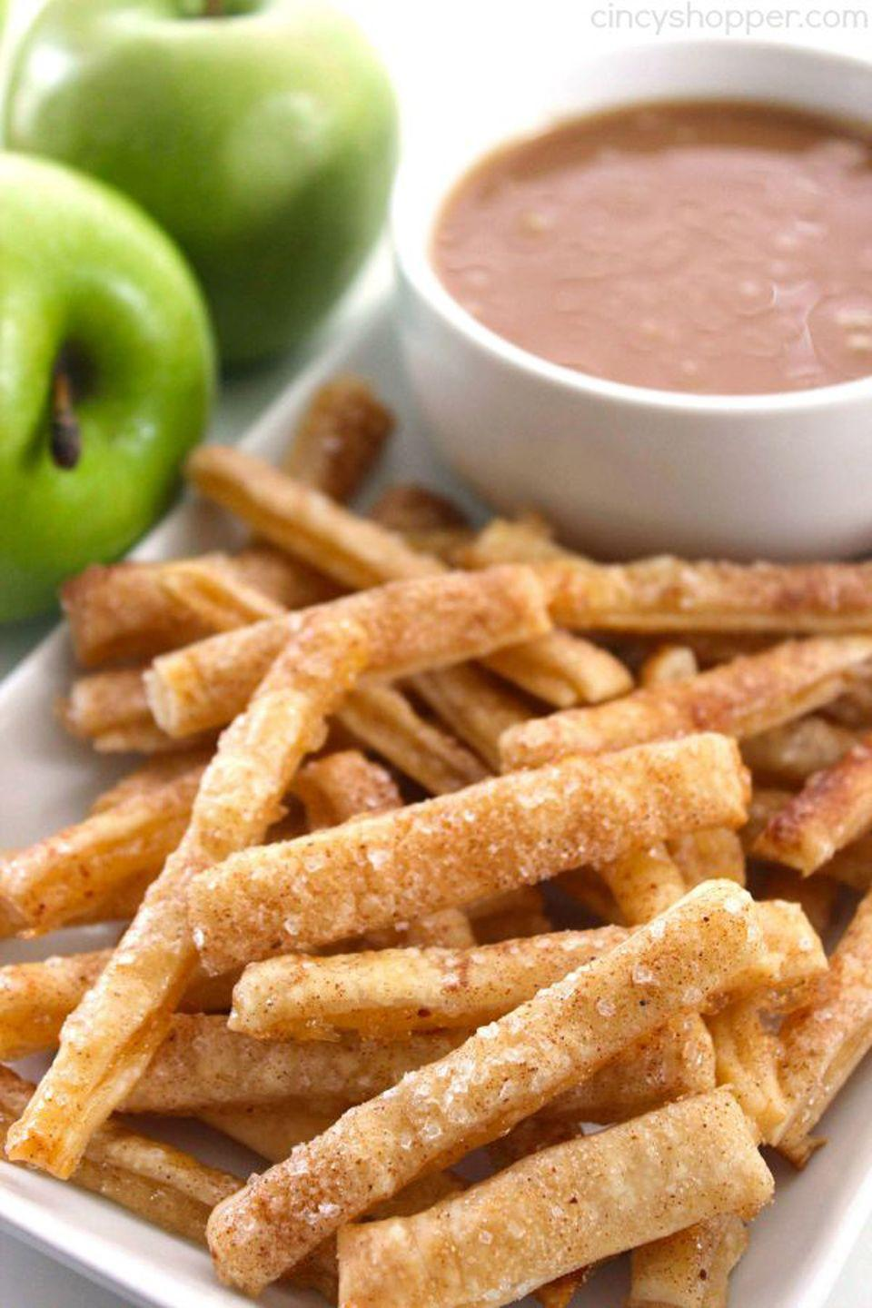 "<p>Dip these baked apple pie fries in caramel, whipped cream, or chocolate sauce.</p><p><strong>Get the recipe at <a href=""http://cincyshopper.com/apple-pie-fries/"" rel=""nofollow noopener"" target=""_blank"" data-ylk=""slk:Cincy Shopper"" class=""link rapid-noclick-resp"">Cincy Shopper</a>.</strong></p><p><a class=""link rapid-noclick-resp"" href=""https://www.amazon.com/Hamilton-Beach-70730-Processor-Vegetable/dp/B008J8MJIQ?tag=syn-yahoo-20&ascsubtag=%5Bartid%7C10050.g.650%5Bsrc%7Cyahoo-us"" rel=""nofollow noopener"" target=""_blank"" data-ylk=""slk:SHOP FOOD PROCESSORS"">SHOP FOOD PROCESSORS</a><br></p>"