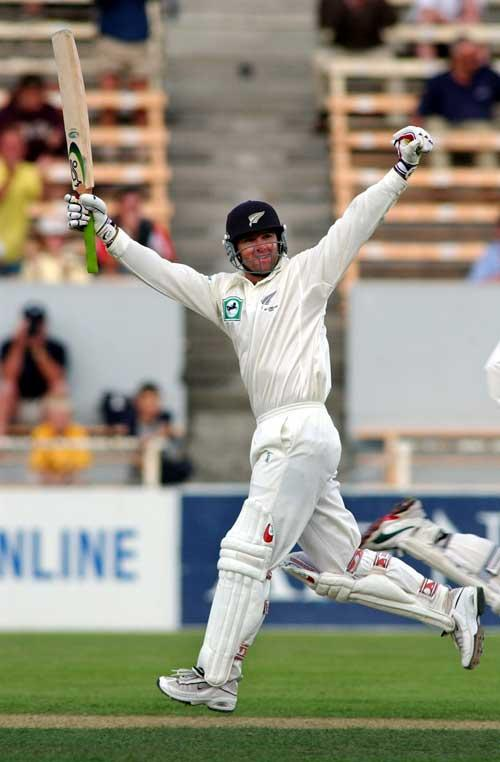 Nathan Astle celebrates his double-century against England in 2002