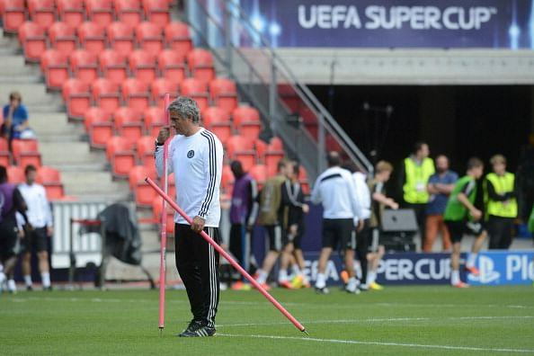 Mourinho pictured during a team training session