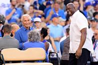 <p>Sandy Koufax and Magic Johnson look on before game one of the 2017 World Series between the Houston Astros and the Los Angeles Dodgers at Dodger Stadium on October 24, 2017 in Los Angeles, California. (Photo by Harry How/Getty Images) </p>