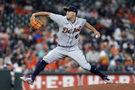 Detroit Tigers starting pitcher Matthew Boyd throws to a Houston Astros batter during the first inning of a baseball game Tuesday, April 13, 2021, in Houston. (AP Photo/Michael Wyke)