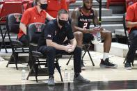 Texas Tech head coach Chris Beard watches from the sideline during the first half of an NCAA college basketball game against Baylor in Lubbock, Texas, Saturday, Jan. 16, 2021. (AP Photo/Justin Rex)