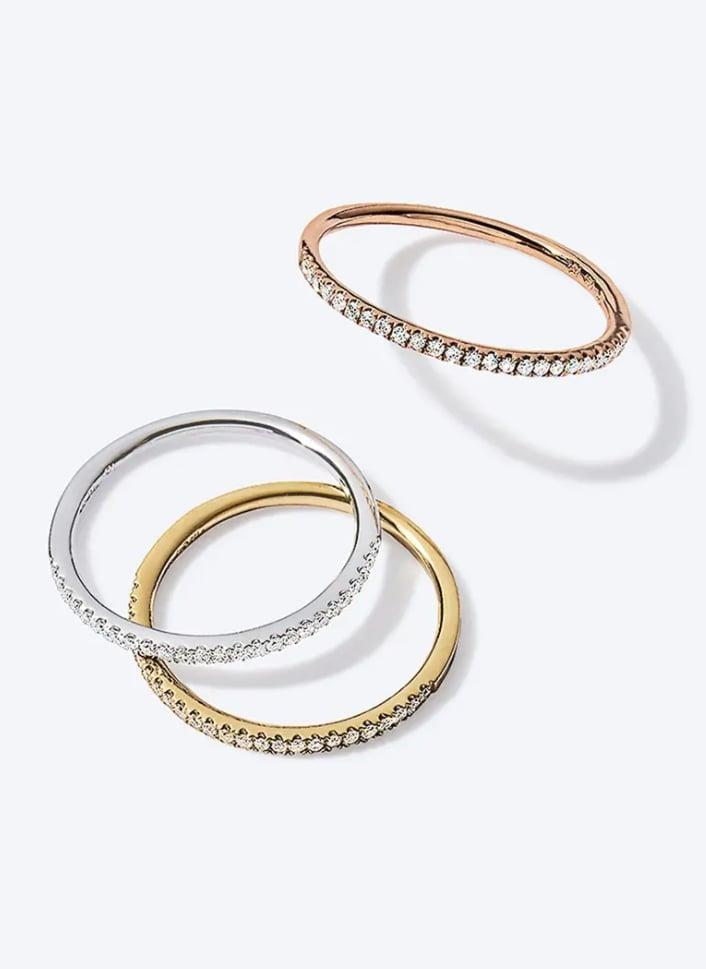 <p>Trust us when we say no one will turn down this simple but classic <span>Bony Levy Diamond Stacking Ring</span> ($795). It comes gold, white gold, and rose gold.</p>