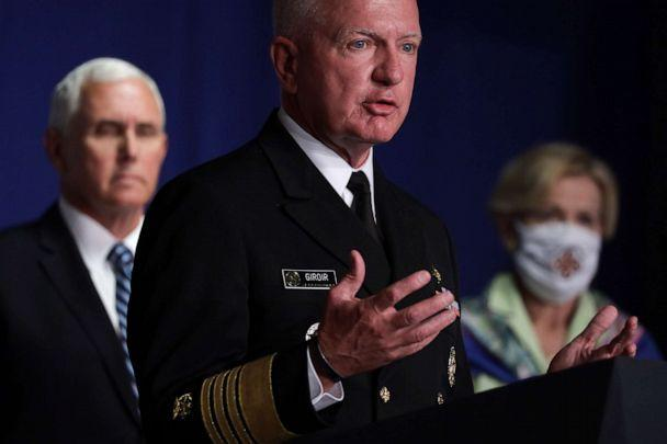 PHOTO: Admiral Brett Giroir, Assistant Secretary for Health, speaks as U.S. Vice President Mike Pence and White House coronavirus response coordinator Deborah Birx listen during a Coronavirus Task Force press briefing in Washington, July 8, 2020. (Alex Wong/Getty Images, FILE)