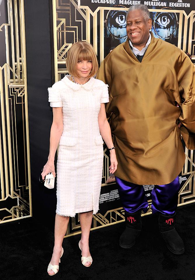 "Editor-in-chief of American Vogue Anna Wintour and AndrÈ Leon Talley attend the ""The Great Gatsby"" world premiere at Avery Fisher Hall at Lincoln Center for the Performing Arts on May 1, 2013 in New York City."