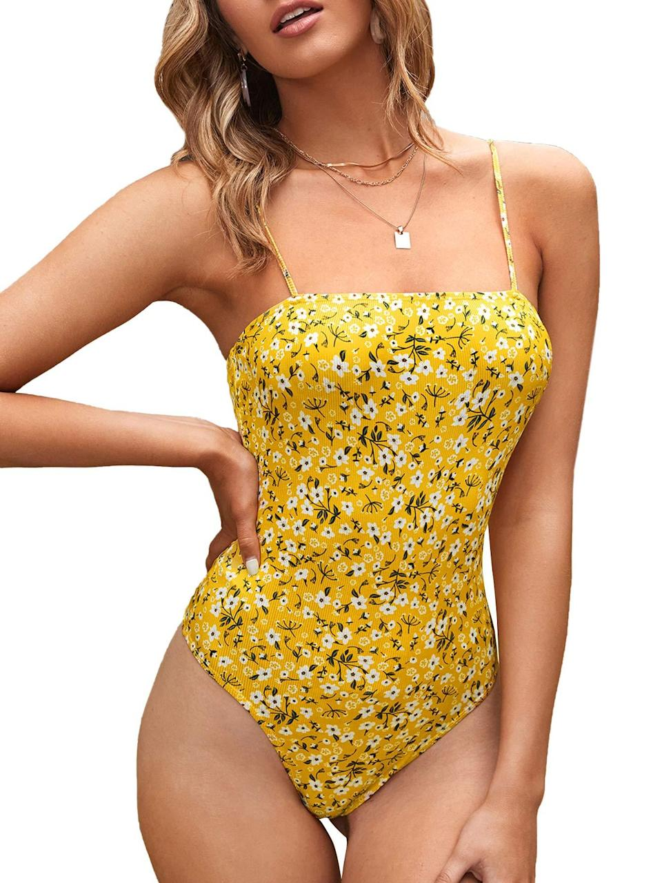 """<h2>Verdusa Spaghetti Strap Ribbed Cami Bodysuit</h2><br>The ditsy floral print on this dainty piece makes it feel like the ultimate spring buy.<br><br><strong>Verdusa</strong> Spaghetti Strap Ribbed Cami Bodysuit, $, available at <a href=""""https://amzn.to/3hiMiYf"""" rel=""""nofollow noopener"""" target=""""_blank"""" data-ylk=""""slk:Amazon"""" class=""""link rapid-noclick-resp"""">Amazon</a>"""