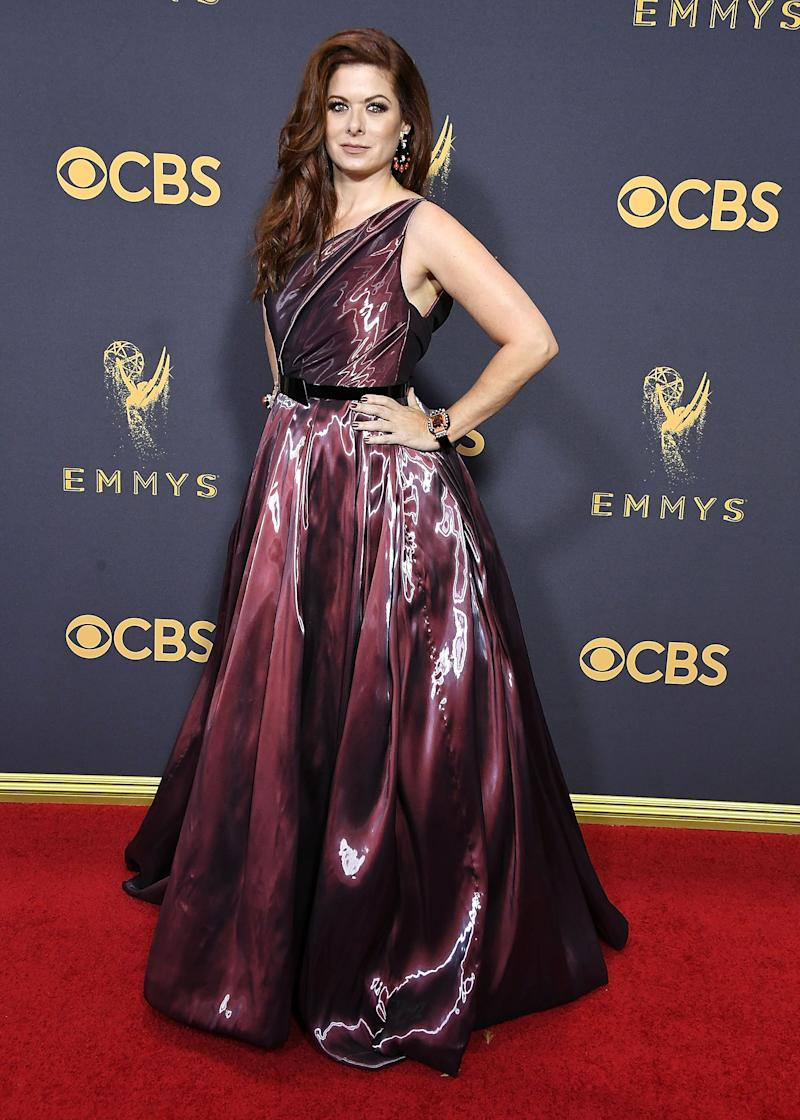 LOS ANGELES, CA - SEPTEMBER 17: Debra Messing arrives at the 69th Annual Primetime Emmy Awards at Microsoft Theater on September 17, 2017 in Los Angeles, California. (Photo by Steve Granitz/WireImage)