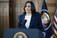 Vice President Kamala Harris speaks after meeting with leaders from Georgia's Asian-American and Pacific Islander community, Friday, March 19, 2021, at Emory University in Atlanta. (AP Photo/Patrick Semansky)