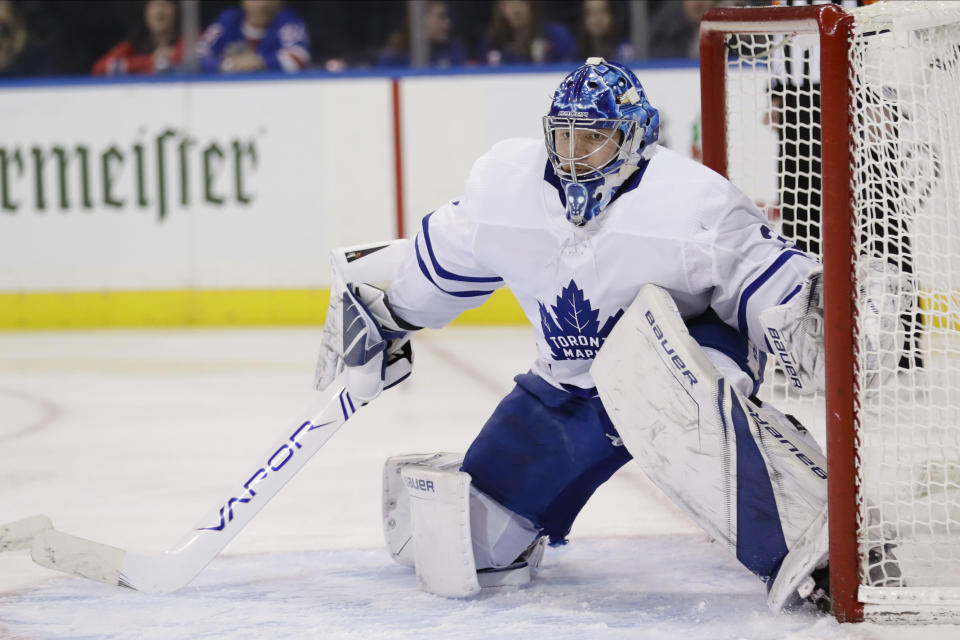 Toronto Maple Leafs goaltender Frederik Andersen defends his net during the second period of an NHL hockey game against the New York Rangers, Friday, Dec. 20, 2019, in New York. (AP Photo/Frank Franklin II)