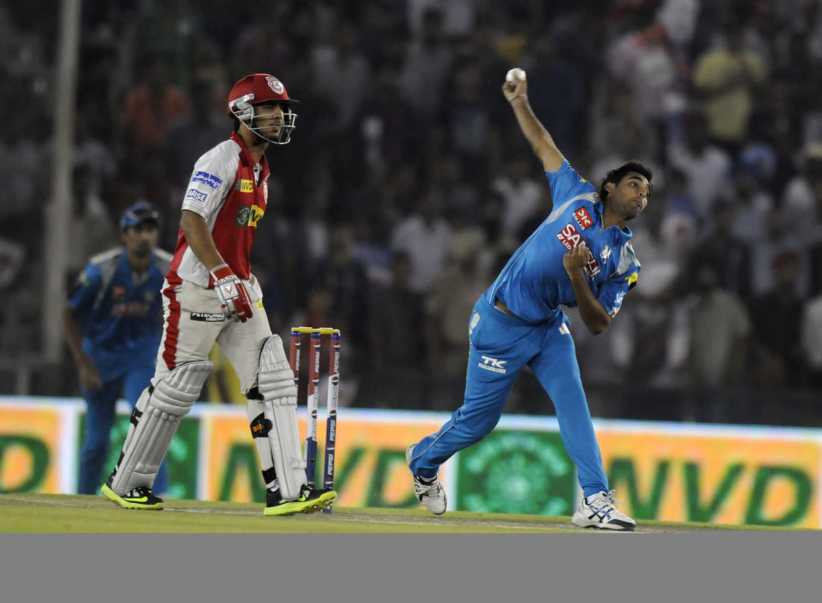 Bhuvneshwar Kumar of Pune Warriors bowls during match 29 of the Pepsi Indian Premier League between The Kings XI Punjab and the Pune Warriors held at the PCA Stadium, Mohali, India  on the 21st April 2013. (BCCI)