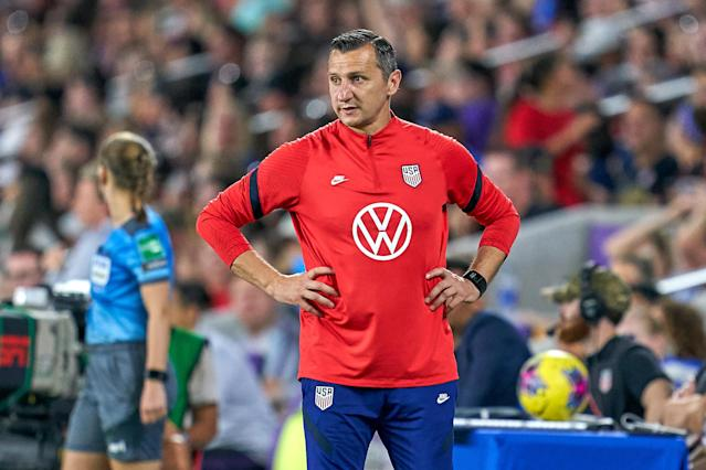 USWNT head coach Vlatko Andonovski looks on during a SheBelieves Cup game against England on March 5, 2020. (Photo by Robin Alam/Icon Sportswire via Getty Images)