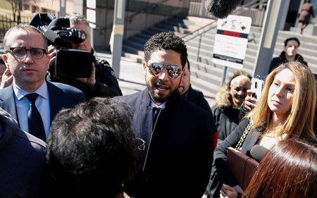 FILE PHOTO:  Actor Jussie Smollett leaves court after charges against him were dropped by state prosecutors in Chicago