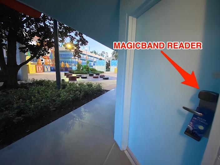 A view of the MagicBand readers outside Disney World hotel-room doors.