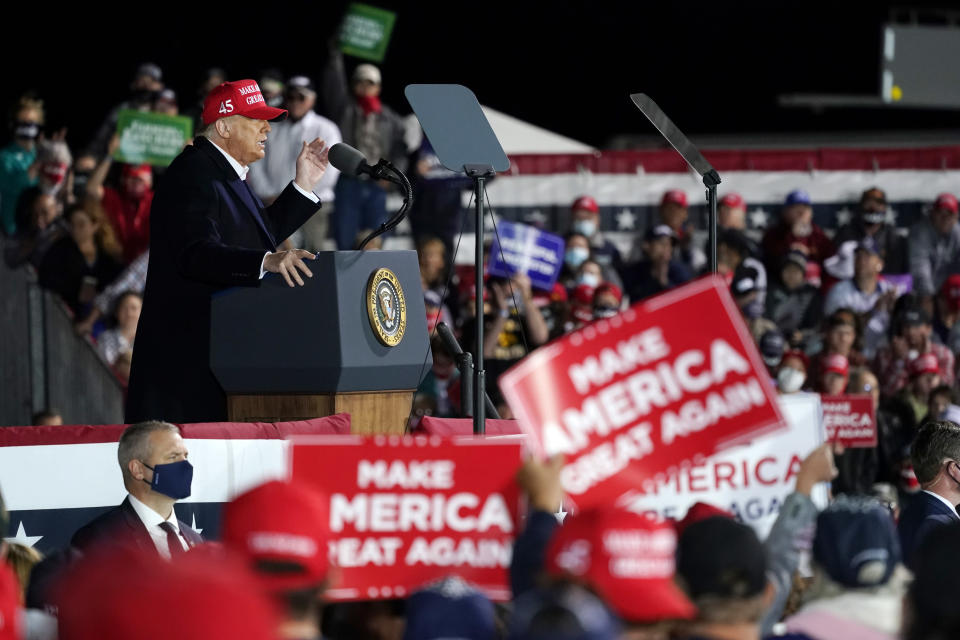 President Donald Trump speaks at a campaign rally at Des Moines International Airport, Wednesday, Oct. 14, 2020, in Des Moines, Iowa. (AP Photo/Alex Brandon)