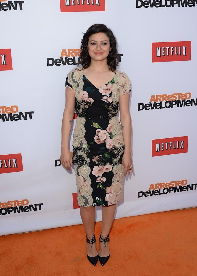 "HOLLYWOOD, CA - APRIL 29:  Actress Alia Shawkat arrives at the TCL Chinese Theatre for the premiere of Netflix's ""Arrested Development"" Season 4 held on April 29, 2013 in Hollywood, California.  (Photo by Jason Merritt/Getty Images)"