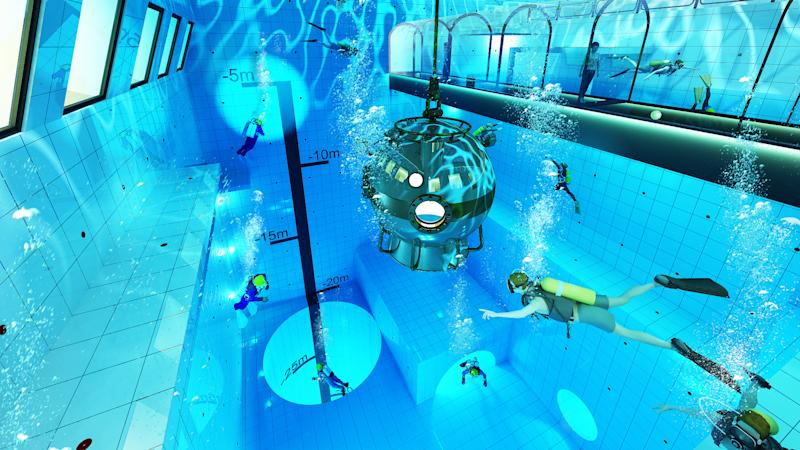 World\'s deepest pool includes underwater tunnel and hotel rooms