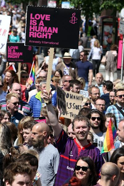 Demonstrators in gather at Belfast city hall, at a rally calling for for gay marriage rights in June 2015 - Northern Ireland is the only part of the UK or Ireland where gay marriage is denied (AFP Photo/Paul Faith)