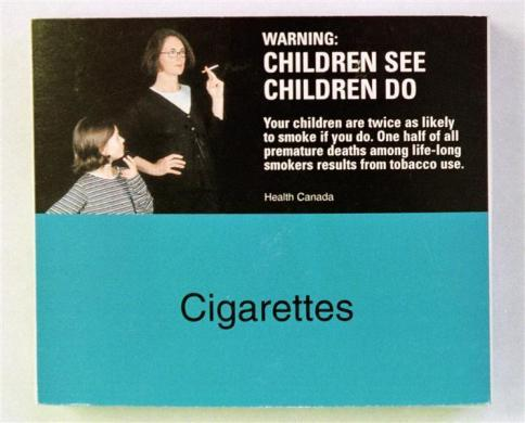 A mock-up of packaging for cigarette packs sold in Canada.