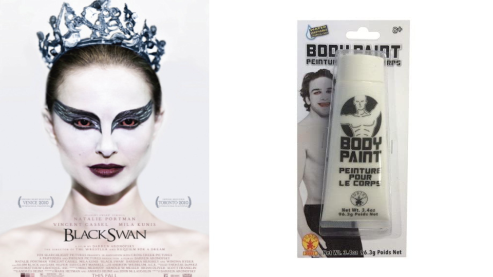 Black Swan, Costume Cream Makeup, White. Images via Fox Searchlight Pictures, Amazon