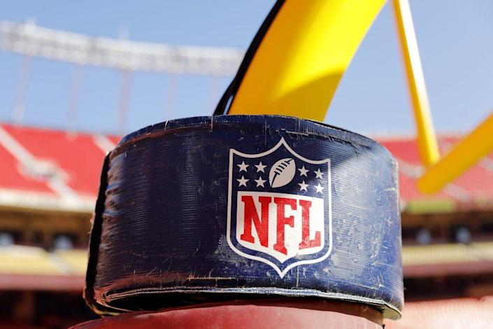 A detail view of the NATIONAL FOOTBALL LEAGUE logo on the goal post stanchion before the AFC Championship Game between the Kansas City Chiefs and the Tennessee Titans at Arrowhead Stadium on January 19, 2020 in Kansas City, Missouri. (Photo by David Eulitt/Getty Images)