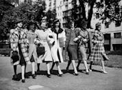 <p>Models walk in a show about British fashion for American women. </p>