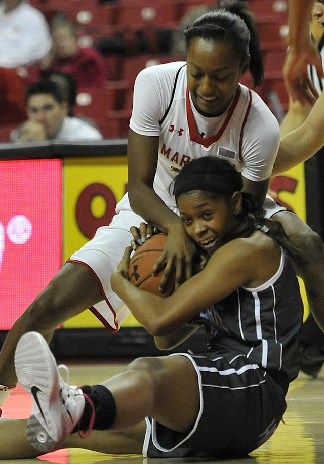 Delaware State's Raven Bankston, bottom, and Maryland's Shatori Walker-Kimbrough struggle for a loose ball in the first half of an NCAA college basketball game on Saturday, Dec. 14, 2013, in College Park, Md.(AP Photo/Gail Burton)