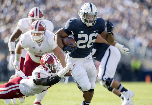 Penn State running back Saquon Barkley has run roughshod on college football thus far this season. (AP)