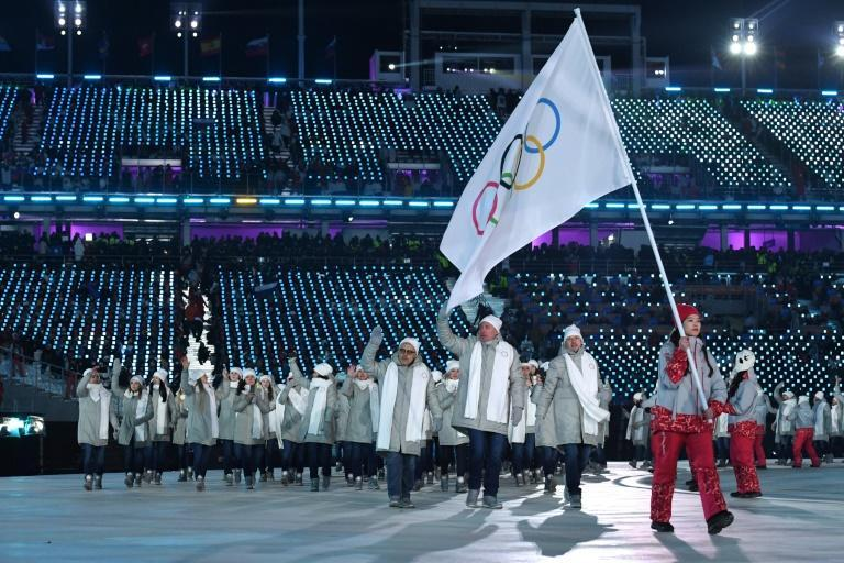 Athletes from Russia parade under a neutral flag during the opening ceremony of the Pyeongchang 2018 Winter Olympic Games