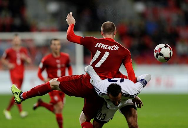 Soccer Football - 2018 World Cup Qualifications – Europe – Czech Republic vs San Marino - Doosan Arena, Pilsen, Czech Republic - October 8, 2017 Czech Republic's Michal Krmencik in action with San Marino's Alessandro Della Valle REUTERS/David Cerny