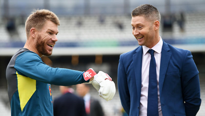 Michael Clarke (pictured right) shares a laugh with David Warner (pictured left).