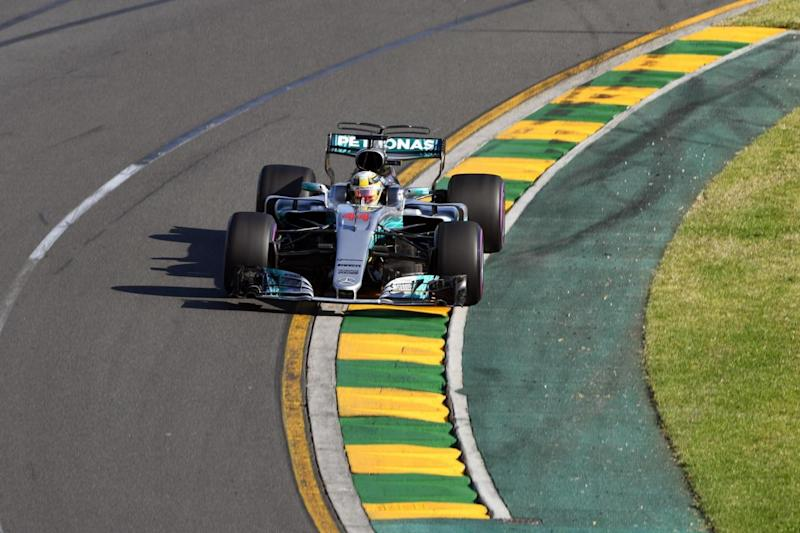 Lewis Hamilton en route to second place in Melbourne (AFP/Getty Images)
