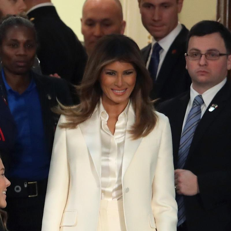 Melania Trump Wears a White Dior Suit To the State of The Union