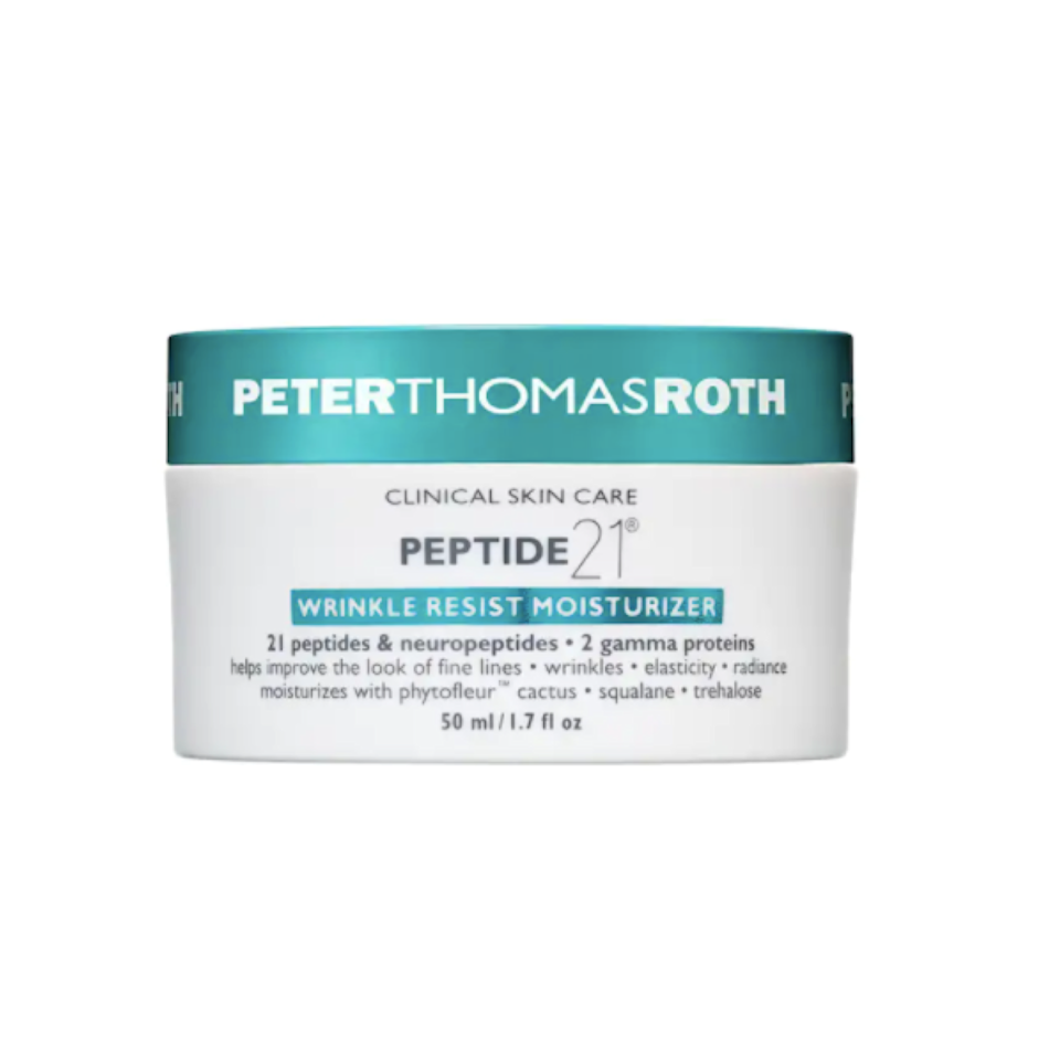 """While you'll want to be cautious about mixing hyaluronic acid with peptides, the payoff is pretty incredible if the combination is suitable for your skin. """"Think of peptides as Legos—they're protein building blocks,"""" says Hirsch of the skin strengtheners. Studies show certain peptides can boost collagen production and speed wound healing; or they can mimic the effect of Botox when applied topically. That means you'll likely want to introduce peptides in your 30s, when you notice your skin doesn't feel quite as firm or bouncy as it did in your 20s. $95, Peter Thomas Roth. <a href=""""https://shop-links.co/1746294118209368566"""" rel=""""nofollow noopener"""" target=""""_blank"""" data-ylk=""""slk:Get it now!"""" class=""""link rapid-noclick-resp"""">Get it now!</a>"""