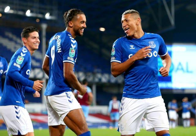 Everton's James Rodriguez, Dominic Calvert-Lewin and Richarlison celebrate together