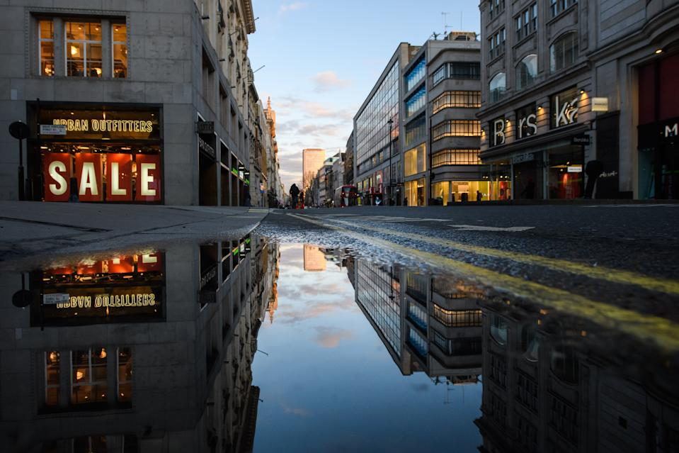 Closed shops and quiet streets on Oxford Street in central London, as the UK enters a new national lockdown aimed at curbing the spread of Coronavirus. Picture date: Wednesday 6th January, 2021. Photo credit should read: Matt Crossick/Empics