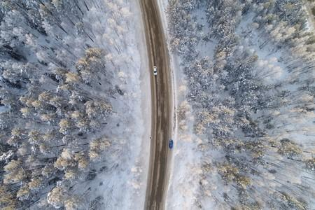 FILE PHOTO: An aerial view shows a road on the banks of the Yenisei River, outside city of Krasnoyarsk