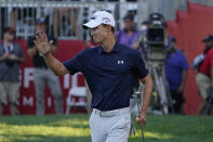 Maverick McNealy waves after making an eagle putt on the 18th green of the Silverado Resort North Course during the final round of the Fortinet Championship PGA golf tournament Sunday, Sept. 19, 2021, in Napa, Calif. McNealy finished second in the tournament. (AP Photo/Eric Risberg)