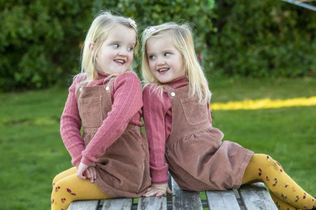 Four-year-old mirror twins Leah and Erin Sullivan from Lossiemouth