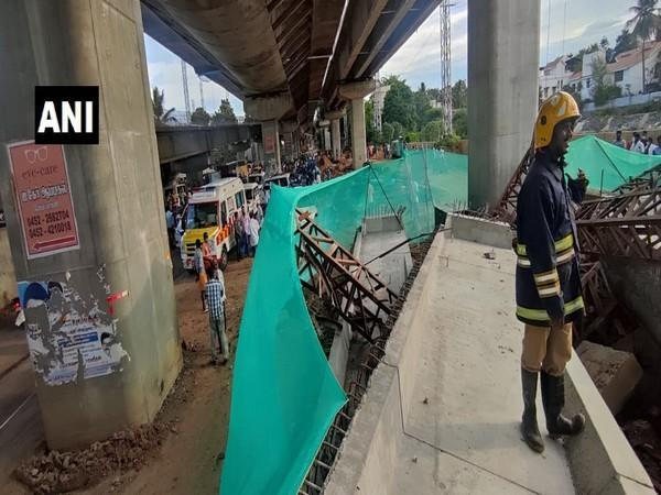 Visual from Madurai where a portion of a flyover collapsed. (Photo/ANI)