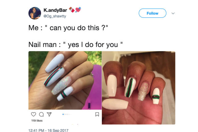 Women are sharing their manicure expectations vs. reality on Twitter, and it's hilariously sad. (Photo: Twitter/Og_shawtty)